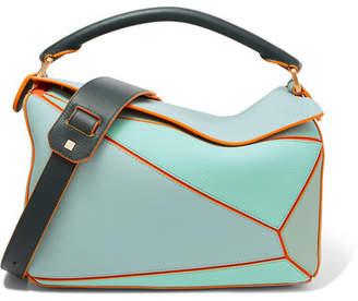 Loewe Paula's Ibiza Puzzle Color-block Textured-leather Shoulder Bag - Turquoise