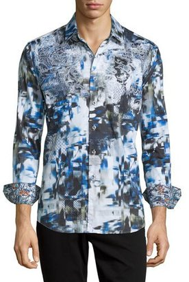 Robert Graham Boron Printed Long-Sleeve Sport Shirt, Black Multi $235 thestylecure.com
