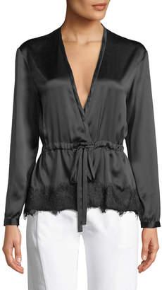 Rag & Bone Tomlin V-Neck Long-Sleeve Satin Silk Shirt
