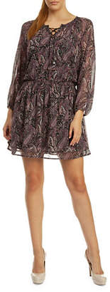Dex Lace-Up Paisley Shift Dress
