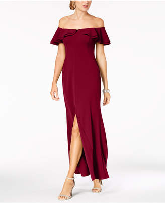 Night Way Nightway Ruffled Off-The-Shoulder Gown