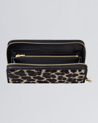 Loewe Zip-Around Calf Hair Wallet