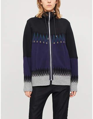 Sacai Graphic-pattern cotton-blend hoody