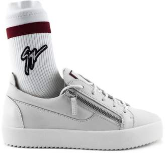 Giuseppe Zanotti White Calfskin Leather Low-top Frankie Plus Sneaker.