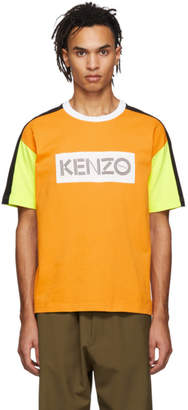 Kenzo Orange and White Colorblocked Logo T-Shirt