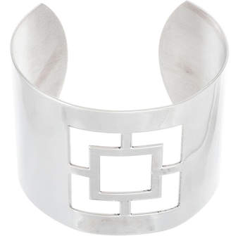 FINE JEWELRY Stainless Steel Square Cut-Out Cuff Bangle
