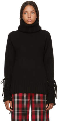 McQ Black Lace-Up Turtleneck