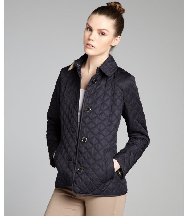 Burberry navy quilted woven button up jacket