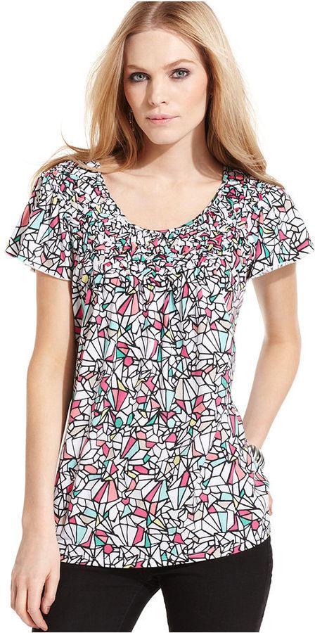 Style&Co. Top, Cap Sleeve Printed Basketweave Collar