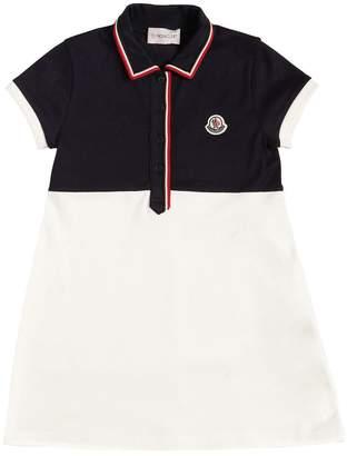 Moncler Color Block Cotton Piqué Dress
