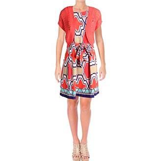 Robbie Bee Women's Petite Printed Prada Jacket Dress with Coral Shrug