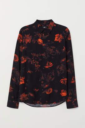 H&M Slim Fit Patterned Shirt - Black