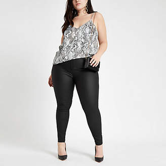 River Island Plus black Molly coated jeggings