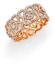 De Beers Women's Enchanted Lotus Diamond& 18K Rose Gold Band Ring