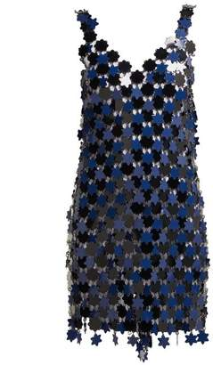 Paco Rabanne Floral Chainmail Dress - Womens - Navy Multi