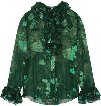 Anna Sui - Iridescent Moonlight Garden Fil Coupé Silk-blend Chiffon Blouse - Green