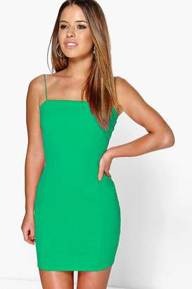 boohoo Petite Crepe Square Neck Bodycon Dress