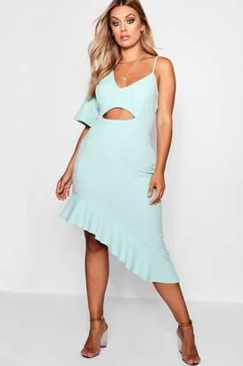 boohoo Plus Terri Lace Detail Ruffle Maxi Dress