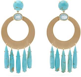 Irene Neuwirth 18kt gold, aquamarine & turquoise earrings