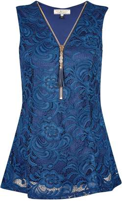 Dorothy Perkins Womens **Billie & Blossoms Navy Lace Sleeveless Top