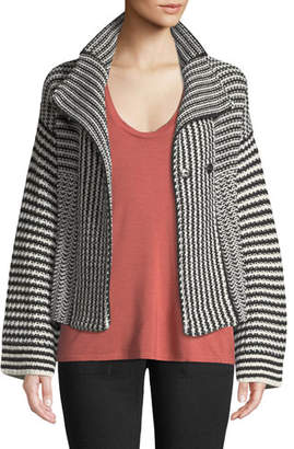 Splendid Onyx Striped Knit Sweater Jacket