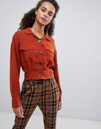 Bershka cropped utility shirt