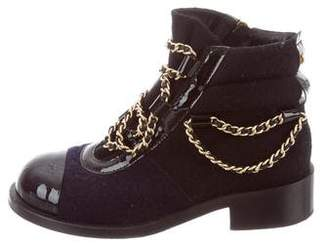 Chanel Chain-Link Cap-Toe Ankle Boots