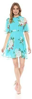 Donna Morgan Women's Short Sleeve Printed Chiffon Dress