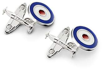 Aspinal of London Sterling Silver Spitfire & Enamel RAF Roundel Cufflinks