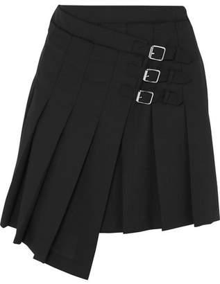 McQ Wrap-effect Pleated Wool-twill Mini Skirt - Black