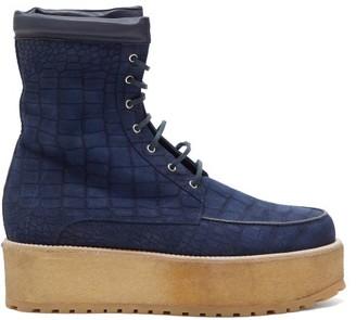 Gabriela Hearst David Crocodile Effect Suede Flatform Boots - Womens - Navy