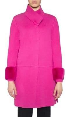 Stizzoli, Plus Size Mink Fur Trim Wool-Blend Coat