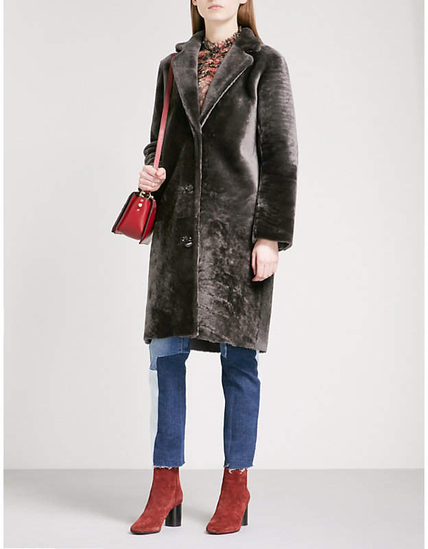 Buy Single-breasted shearling coat!