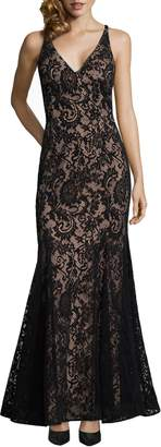 Xscape Evenings Sleeveless Flocked Lace Gown