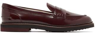 Tod's Patent Leather Penny Loafers - Womens - Burgundy