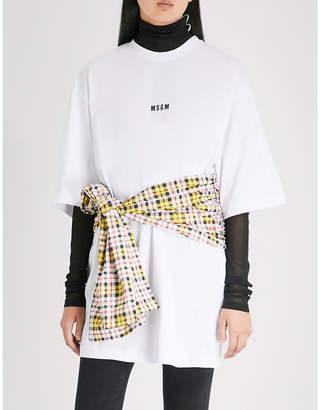 MSGM Tartan tie cotton T-shirt