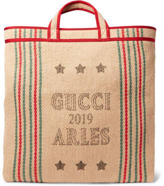 Gucci Grosgrain-Trimmed Printed Hessian Tote Bag