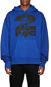 Tupac by 424 Men's Fist-Print Cotton Terry Oversized Hoodie-Blue