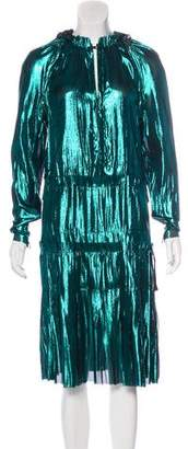 Lanvin Long Sleeve Iridescent Dress