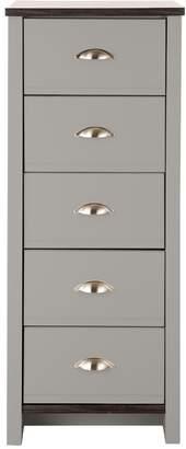 Consort Furniture Limited Tivoli Ready Assembled 5-Drawer Chest - Grey/Walnut-Effect
