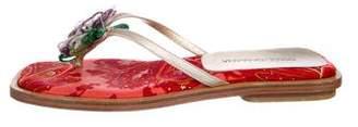 Dolce & Gabbana Metallic Leather Thong Sandals