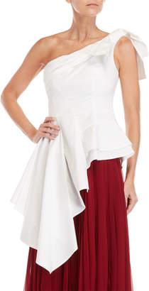 Carolina Herrera White One-Shoulder Bow Blouse