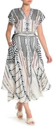 Hale Bob Patterned V-Neck Midi Dress