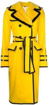 Thom Browne Classic Trench Coat With Grosgrain Tipping, Mink Fur Detachable Collar & Lapel In Nylon Slicker