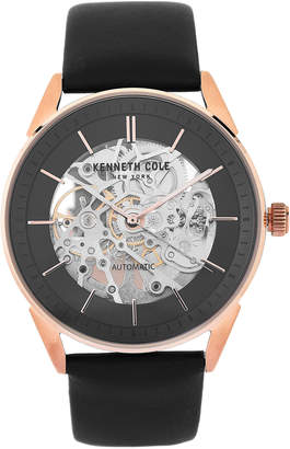 Kenneth Cole New York KC50192001 Black & Rose Gold-Tone Skeleton Dial Leather Strap Watch