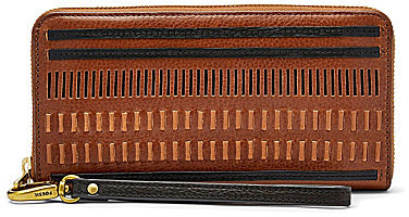 Fossil Fossil Emma Woven-Front RFID Large Zip Wallet