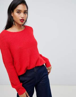 Vila Balloon Sleeve Rib Jumper