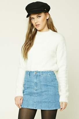FOREVER 21+ Grid-Patterned Denim Mini Skirt $19.90 thestylecure.com