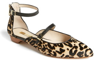 Louise et Cie Claire Genuine Calf Hair Ankle Strap Flat