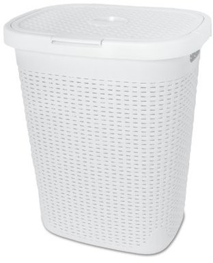 Superio Laundry Hamper Palm Luxe Collection 1.4 Bushel (White)